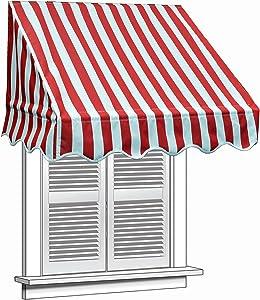 ALEKO 4x2 Feet Multiple Stripes Red Window Awning Door Canopy 4-Foot Decorator Awning