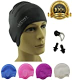 Premium Long Hair Swim Cap For Men & Women, Lady Boys & Girls With Beautiful Design - The Best Swim Cap On The Market – Free Nose Clip & Ear Protection.