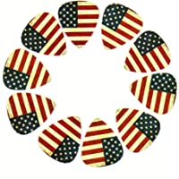 12-pack 0.71mm Stylish Colorful Celluloid Guitar Picks Plectrums for Guitar Bass (10-American Flag)