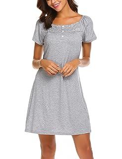 c3a4f08204cb68 MAXMODA Damen Nachtwäsche Unterkleid mit Spitzen Elegant Nachthemd mit  Kurzarm Schlafhemd mit Knopfleiste Homewear Hausanzug S