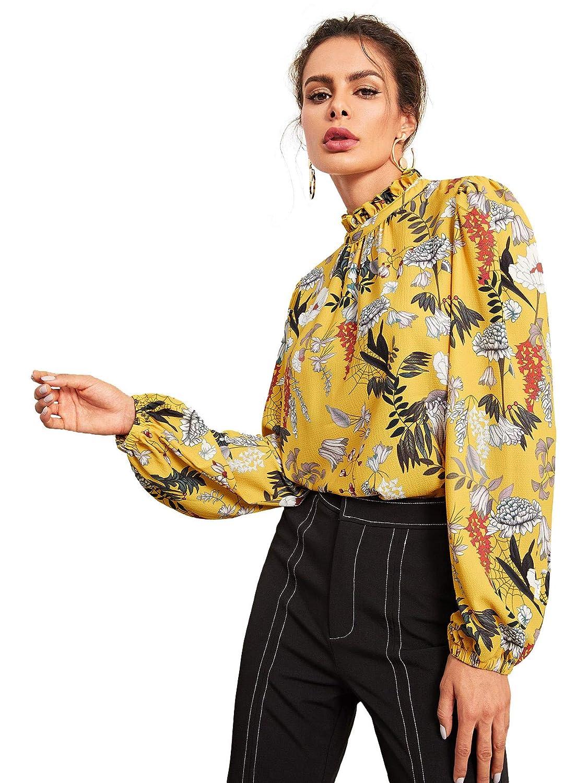 Floerns Womens Floral Print High Neck Puff Long Sleeve Chiffon Blouse