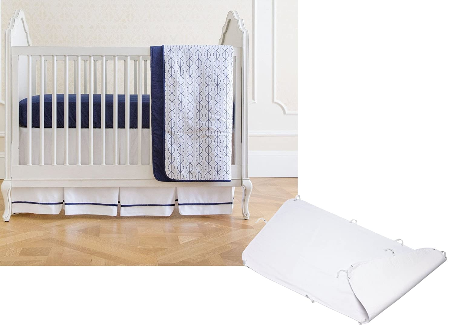 Summer Infant 4 Piece Bedding Set with Waterproof Mattress Pad Protector, Nautical Navy
