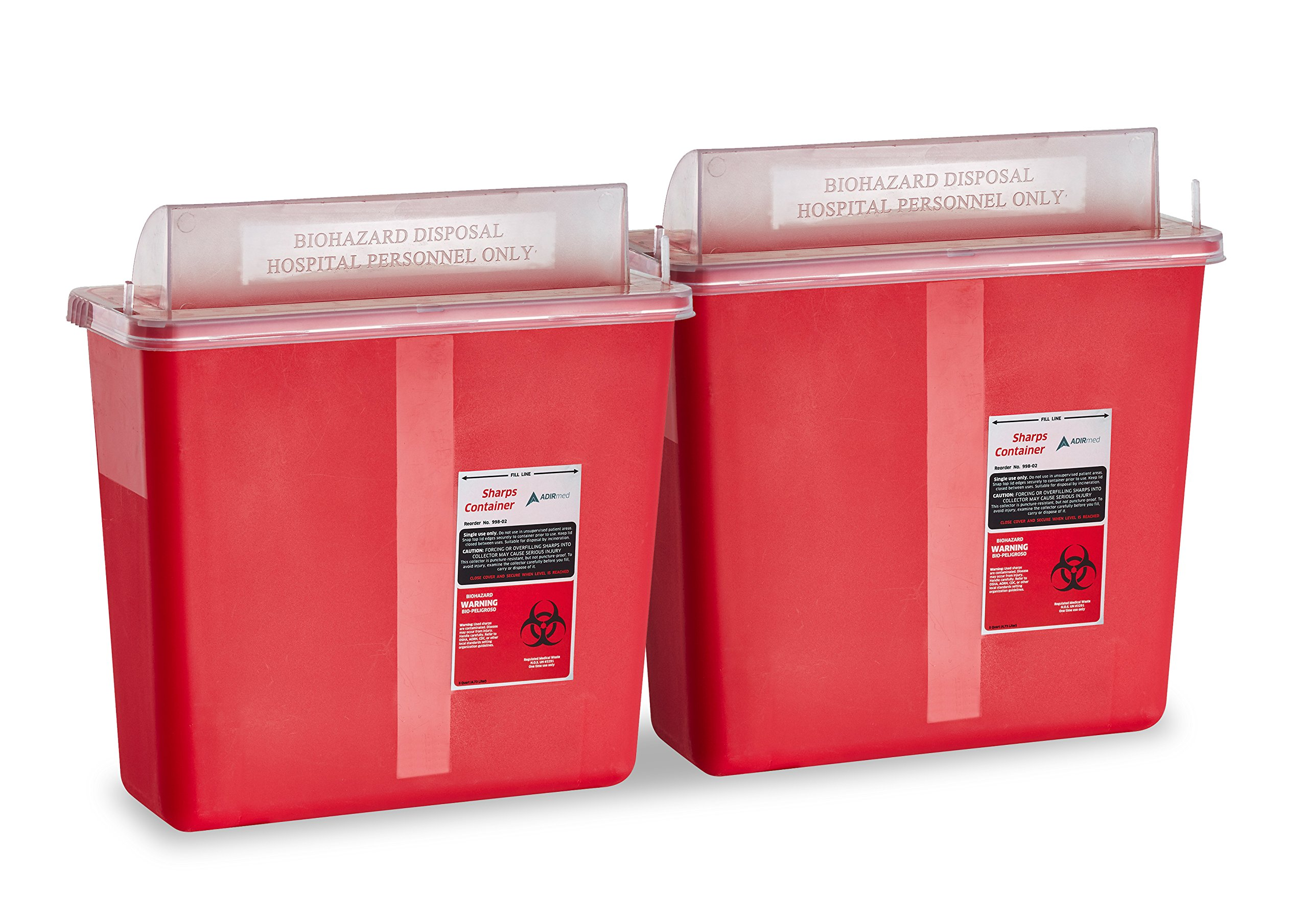 AdirMed Sharps & Needle Biohazard Disposal Container - 5 Quart - Mailbox Style Horizontal Lid - 2 Pack by Adir Med (Image #1)