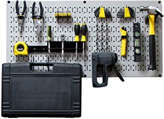 product image for Wall Control Modular Pegboard Tool Organizer System - Wall-Mounted Metal Peg Board Tool Storage Unit for Pegboard Tiling (Gray Pegboard)