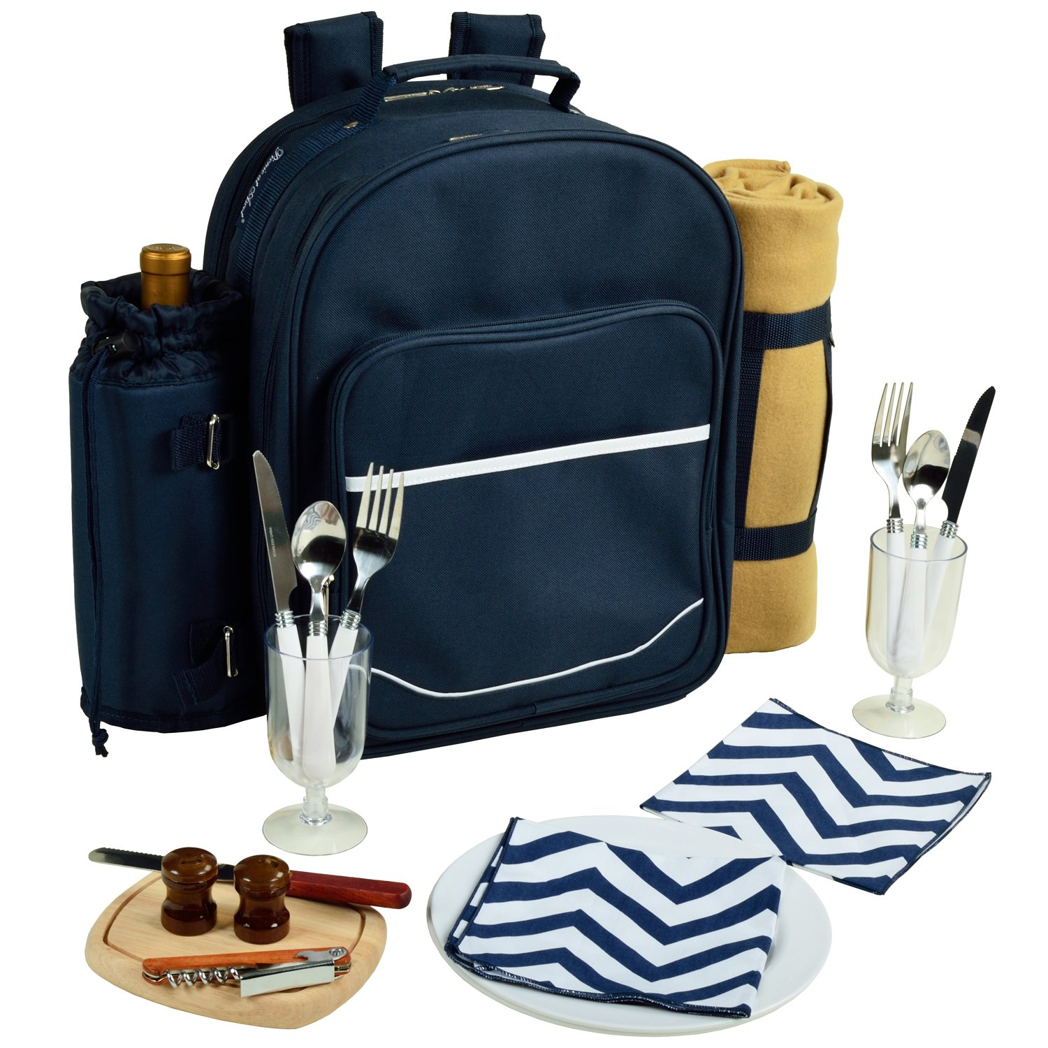 Picnic at Ascot - Deluxe Equipped 2 Person Picnic Backpack with Cooler, Insulated Wine Holder & Blanket - Chevron Blue