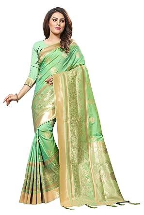 192fd4f7f4 Ek-Pal Women's Banarasi Silk Woven Kanjivaram Saree with Blouse Piece (LEAF  PISTA,