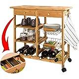 SoBuy FKW06-N - Estante de cocina con ruedas (de bambú de alta calidad)