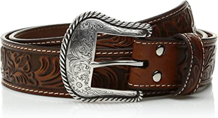 Nocona Western Mens Belt Leather Embossed Pierced Floral Tapered Tan N2414708
