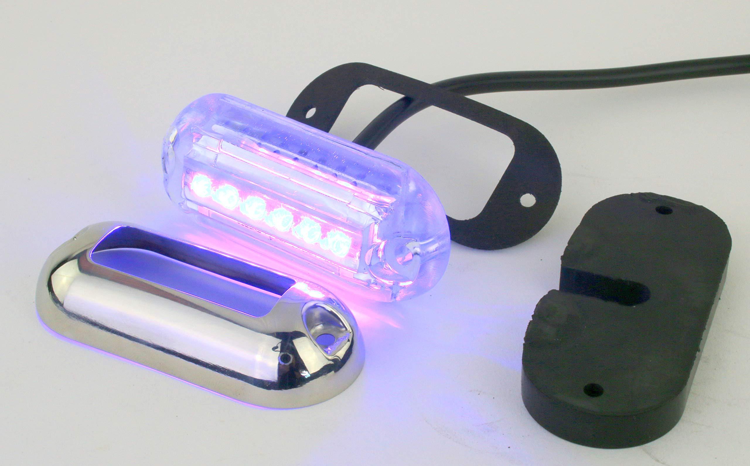 Waterproof Underwater Marine LED Pod Light - BLUE LED, Heavy duty, Waterproof 12 VDC by Pilotlights.net
