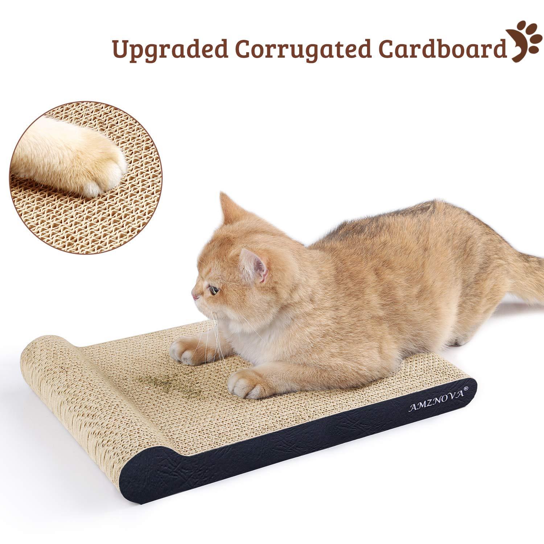 Inclined Corrugated Cardboard Kitty Scratching Pad Lounge with Bottom Catnip Included AMZNOVA Cat Scratcher Ramp