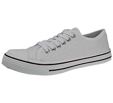 Damen-Sneaker aus Canvas Baltimore/Academy, mit Zehenkappe und Schnürung, Größe 42-48, Weiß - weiß - Größe: 39 Foster Shoes