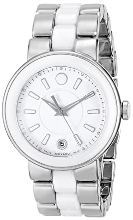 9880dd939 Image Unavailable. Image not available for. Color: Movado Women's 0606539 Cerena  Stainless Steel/White Ceramic Case Watch