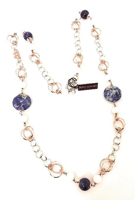 marchi riconosciuti costo moderato negozio ufficiale BOCCADAMO Collana in argento rodiato e rosa con pietre dure ...