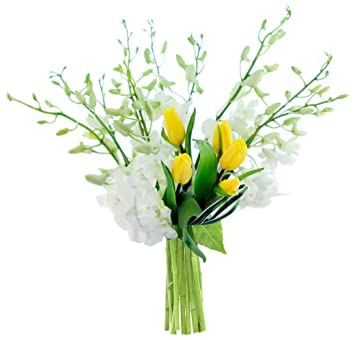 Amazon Kabloom Happy Melody Yellow Tulips And White Orchids