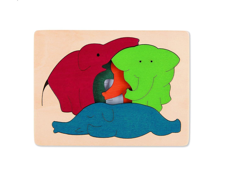 Hape - E6509 - George Luck - Puzzle - Eléphants - 7 pièces