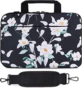 Holilife 13-13.3 Inch Laptop Shoulder Bag, Protective Notebook Messenger Briefcase Compatible with MacBook Air MacBook Pro Ultrabook Chromebook, Hibiscus