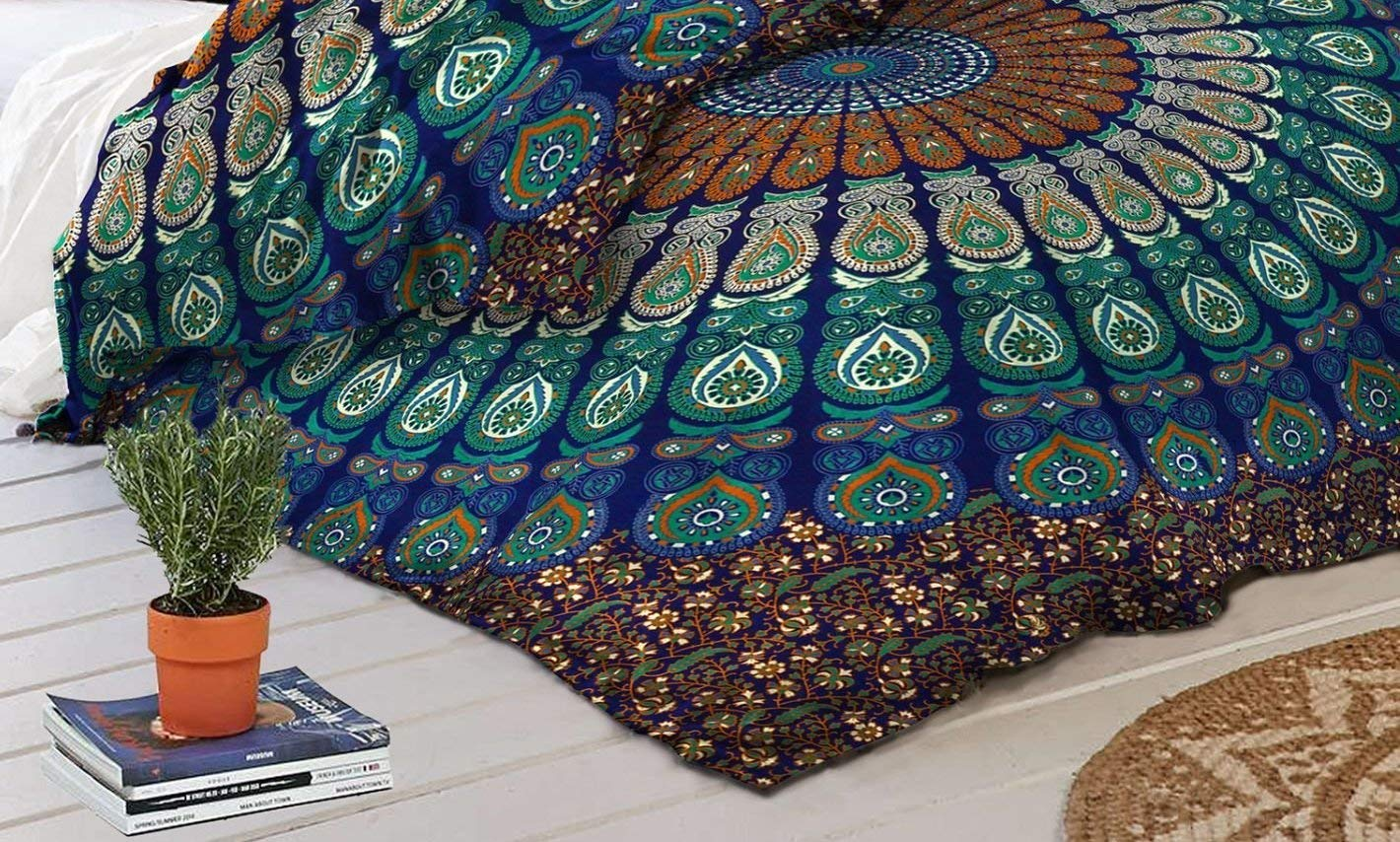 Indian Bedcover Duvet Cover Large Hippie Bedcover 90x85 inch Black and White Duvet Covers