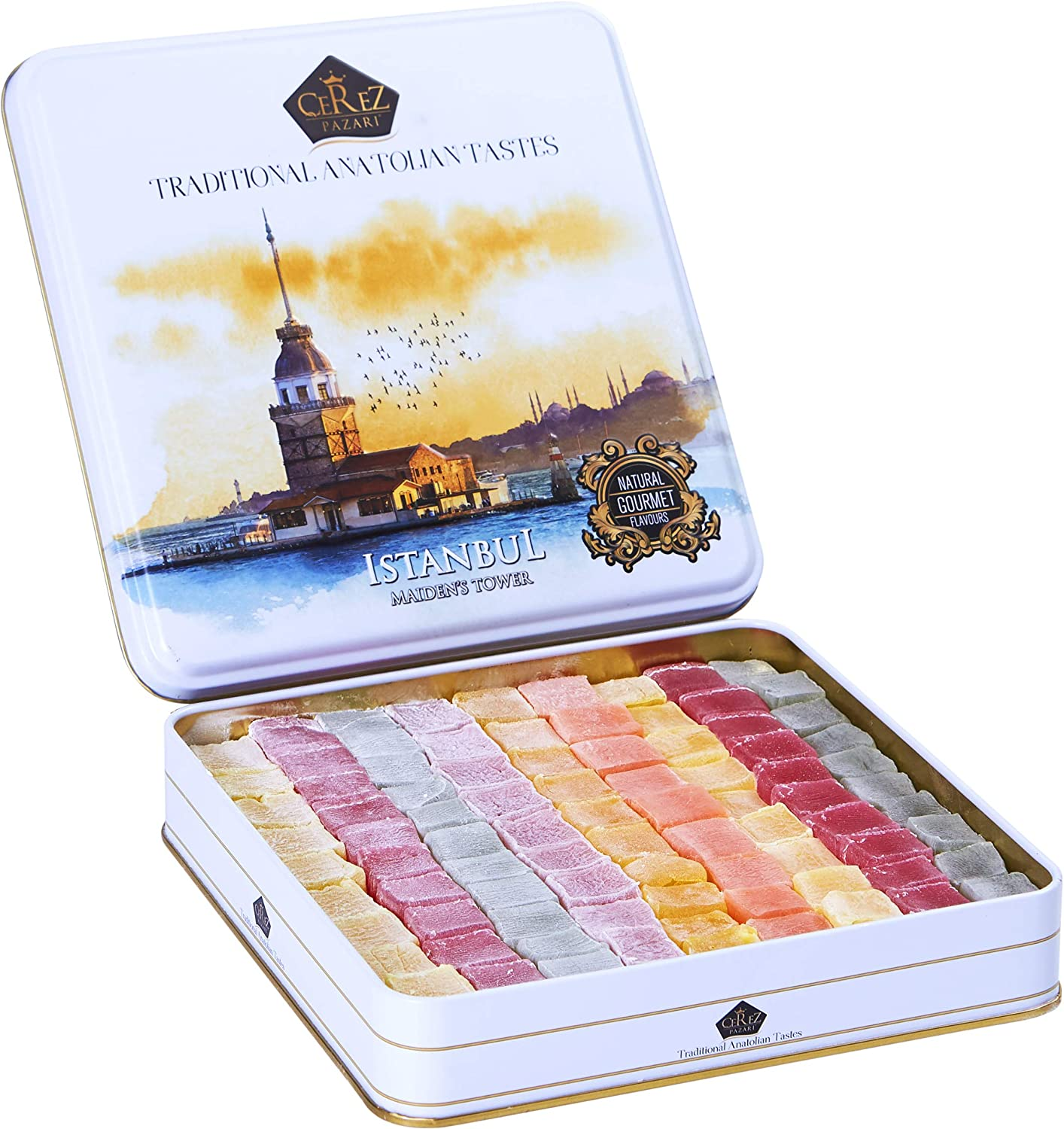 Cerez Pazari Turkish Delight Candy Gift Basket 2.2Lbs ℮, Luxury Lokum Dessert Gourmet Christmas Holiday Corporate Food Gifts in Elegant Tin Box, Thanksgiving, Halloween, Birthday with 6 Unique Flavors (No Nuts) Approx. 90 Pcs