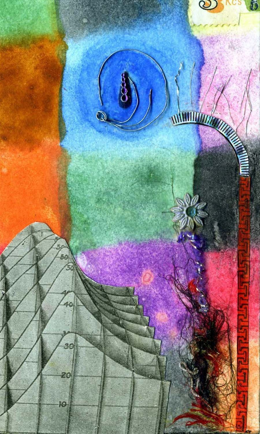 Souvenirs.. 5 original abstract watercolors with collage elements