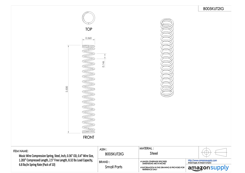 Music Wire Compression Spring, Steel, Inch, 0.36\
