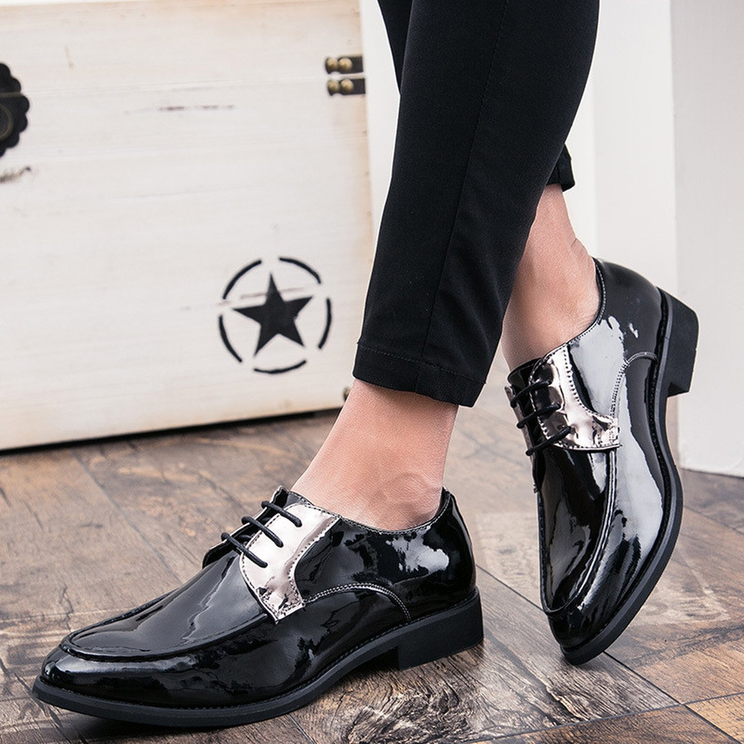 Memoriesed Men Dress Shoes Chic Formal Business Brand Oxfords Shoes Mens Flats,Black-Gold Oxfords,9.5