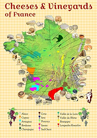 Labeled Map Of France.Cheeses And Vineyards Of France Colourful Map Paper Laminated