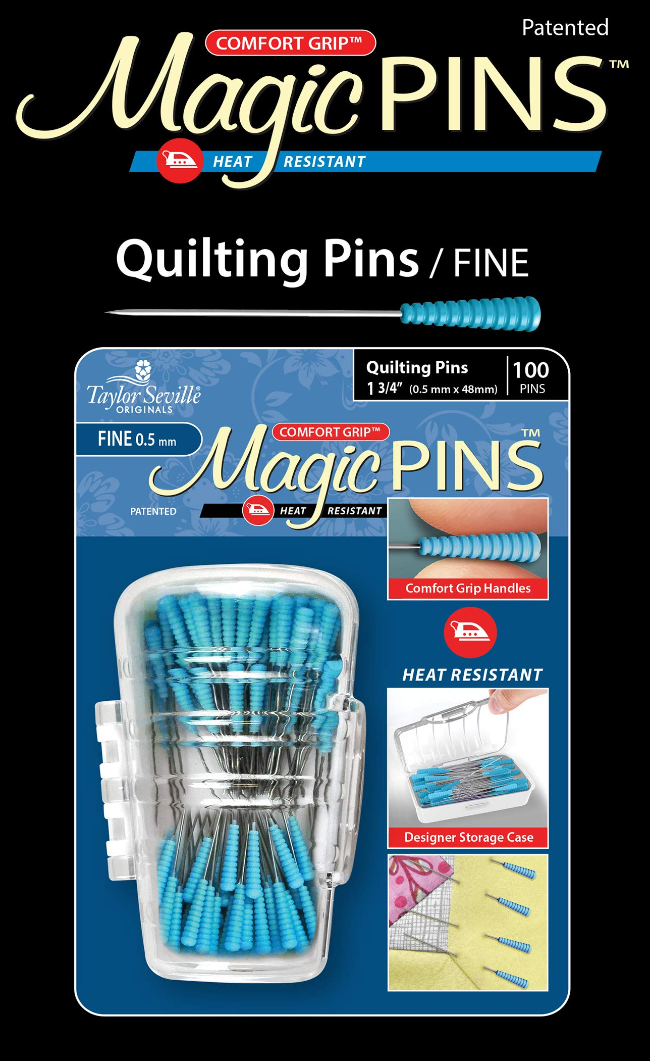 Taylor Seville Originals Comfort Grip Quilting Fine Magic Pins-Sewing and Quilting Supplies and Notions-Sewing Notions-100 Count by Taylor Seville Originals