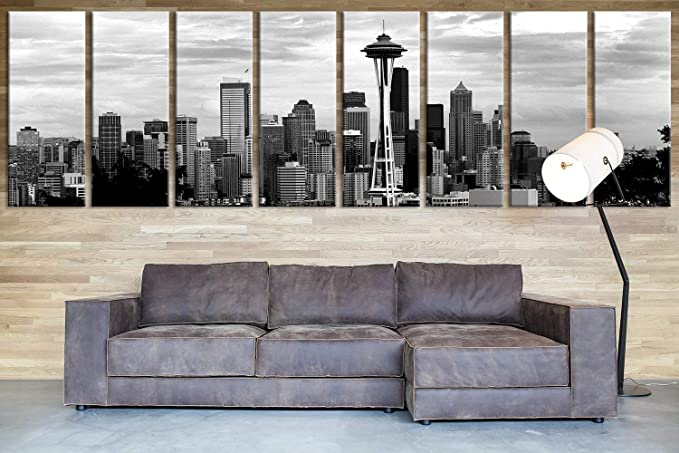 Extra Large Seattle Skyline Panorama Canvas Print Seattle Canvas Print Extra Large Seattle City Skyline Wall Art Print 12x32 Inch Each Panel 96x32 Inch Total Posters Prints