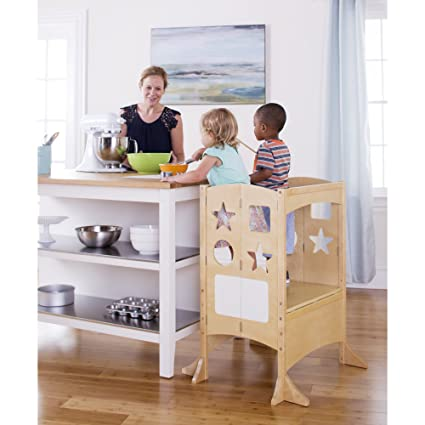 Guidecraft Double Wide Kitchen Helper   Natural: Extra Wide Adjustable Step  Stool For Toddlers