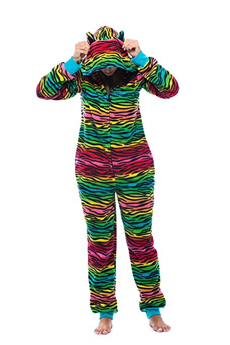 556ec230cb Adult Onesie With Animal Prints Pajamas Rainbow Zebra with Ears Nex Day  Shipping Available Great Gift
