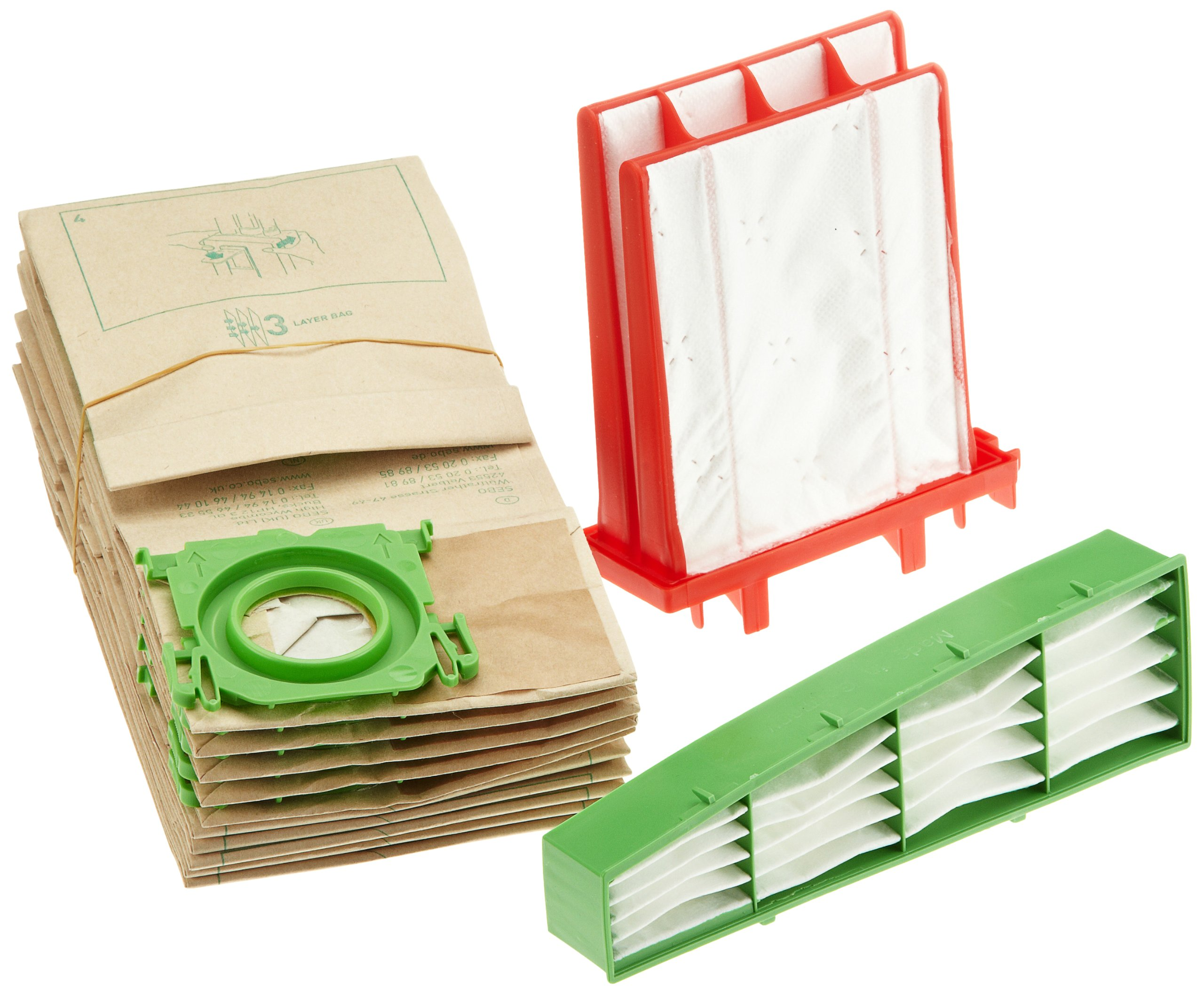 Sebo 6198ER Service-Box for Airbelt C2/ C2.1/ C3/ C3.1 includes 10 Filter Bags 3 Layer 1 Hospital Grade Filter and 1 Micro Hygiene Filter