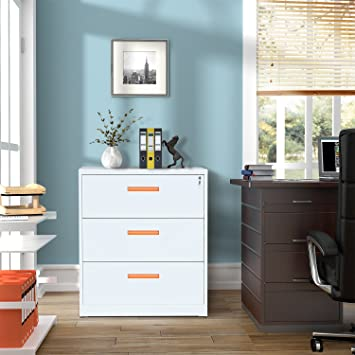 ModernLuxe Metal Lateral File Cabinet With Lock (White Orange, 3 Drawers: