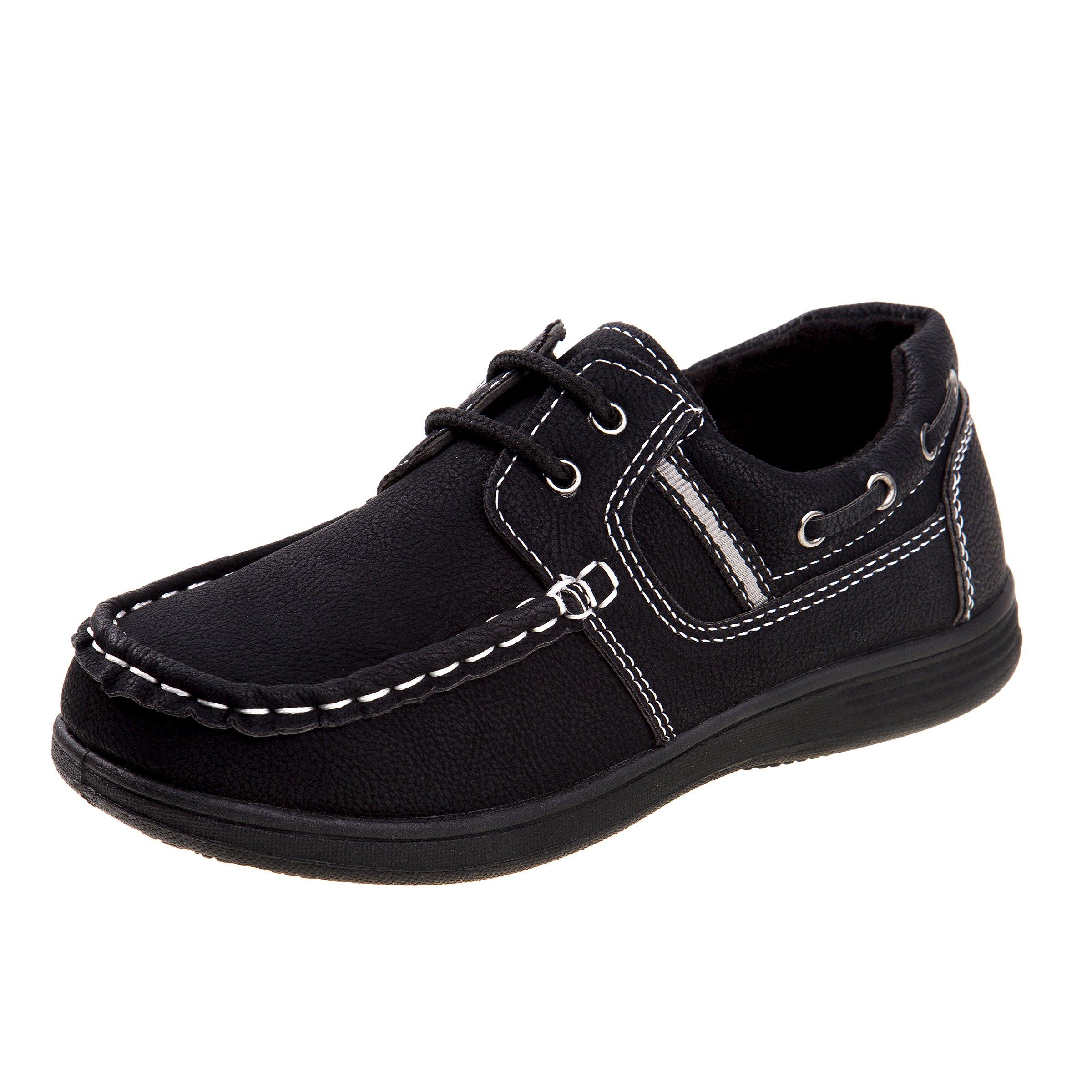 Josmo Boys Boat Shoes, Black, Size 12 M US Little Kid
