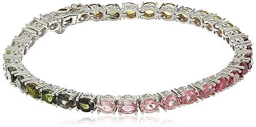 "Genuine Multi-Stone .925 Sterling Silver Bracelet, 7.5"""
