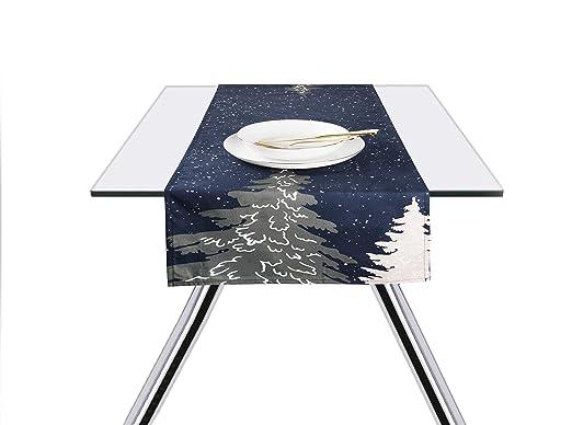 Excelsa Notturno - Camino de Mesa, 100% algodón, Azul, 45 x 140 cm ...
