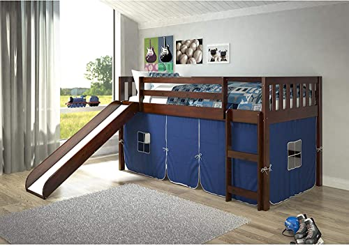 Donco Kids Mission Low Slide Loft Bed Dark Cappuccino/Twin/Blue Tent