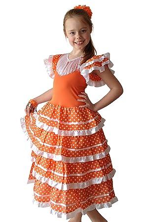 La Senorita Vestido Flamenco Español Traje de Flamenca chica/niños naranja blanco (Talla 4