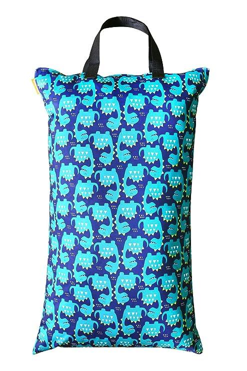 Bolsas de pañales para bebé húmedas y secas, impermeables, reutilizables con dos bolsillos con