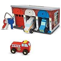 Melissa & Doug Keys & Cars Wooden Rescue Vehicle & Garage Toy (7 Piece)