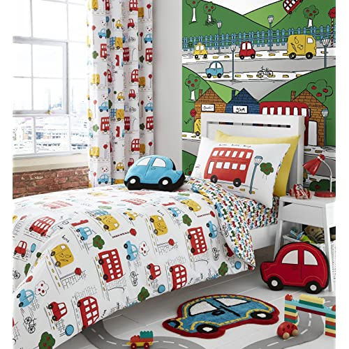 Catherine Lansfield - Set de fundas para edredón - Para dormitorio infantil - Coches - Individual