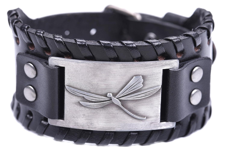 TEAMER Vintage Dragonfly Braided Wide Leather Bracelet Dragonfly Jewelry Cuff Bangle Women Men Jewelry