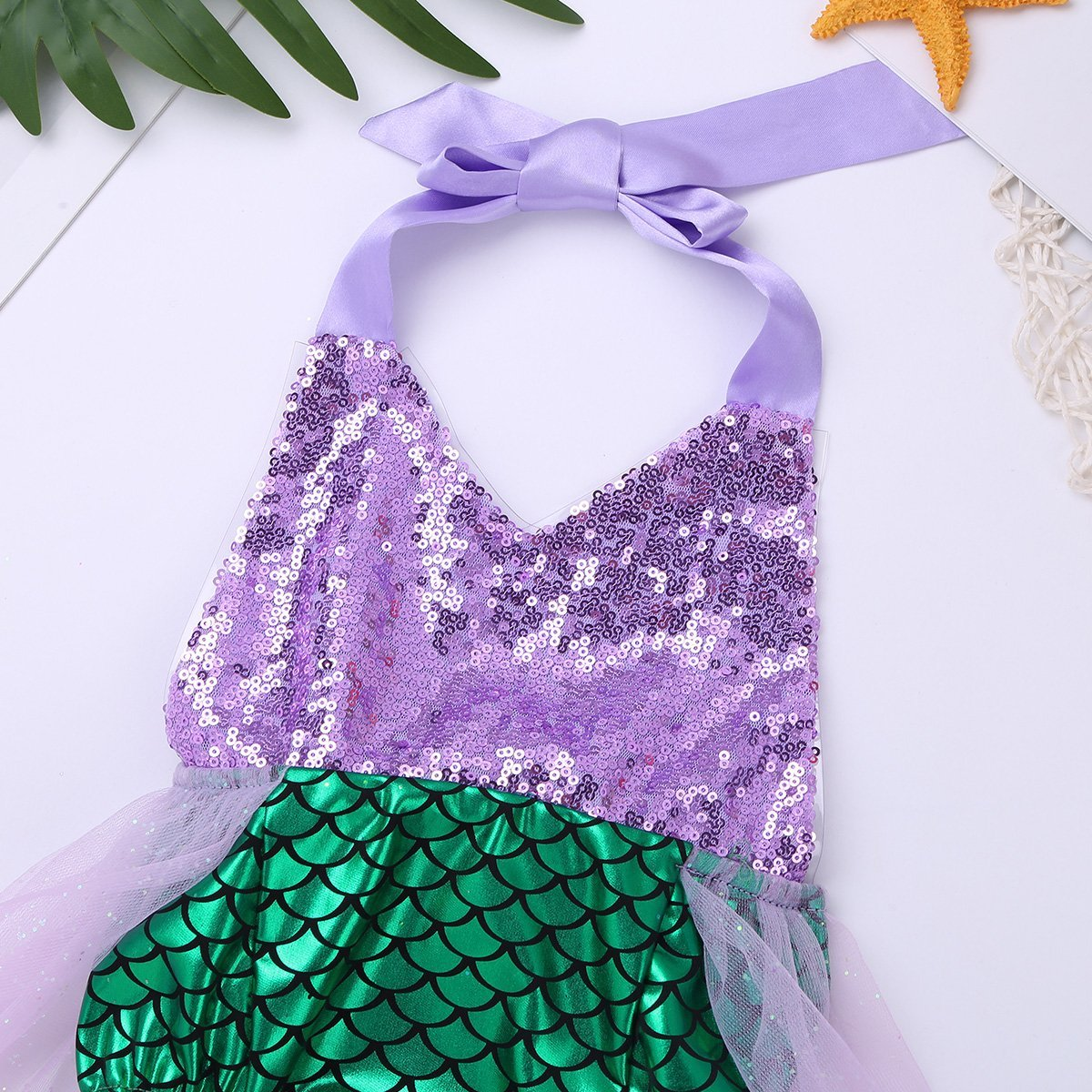 FEESHOW Toddler Baby Girls Mermaid Princess Bikini Swimsuit Halter Romper Tutu Fancy Dress Costumes Green 9-12 Months by FEESHOW (Image #5)