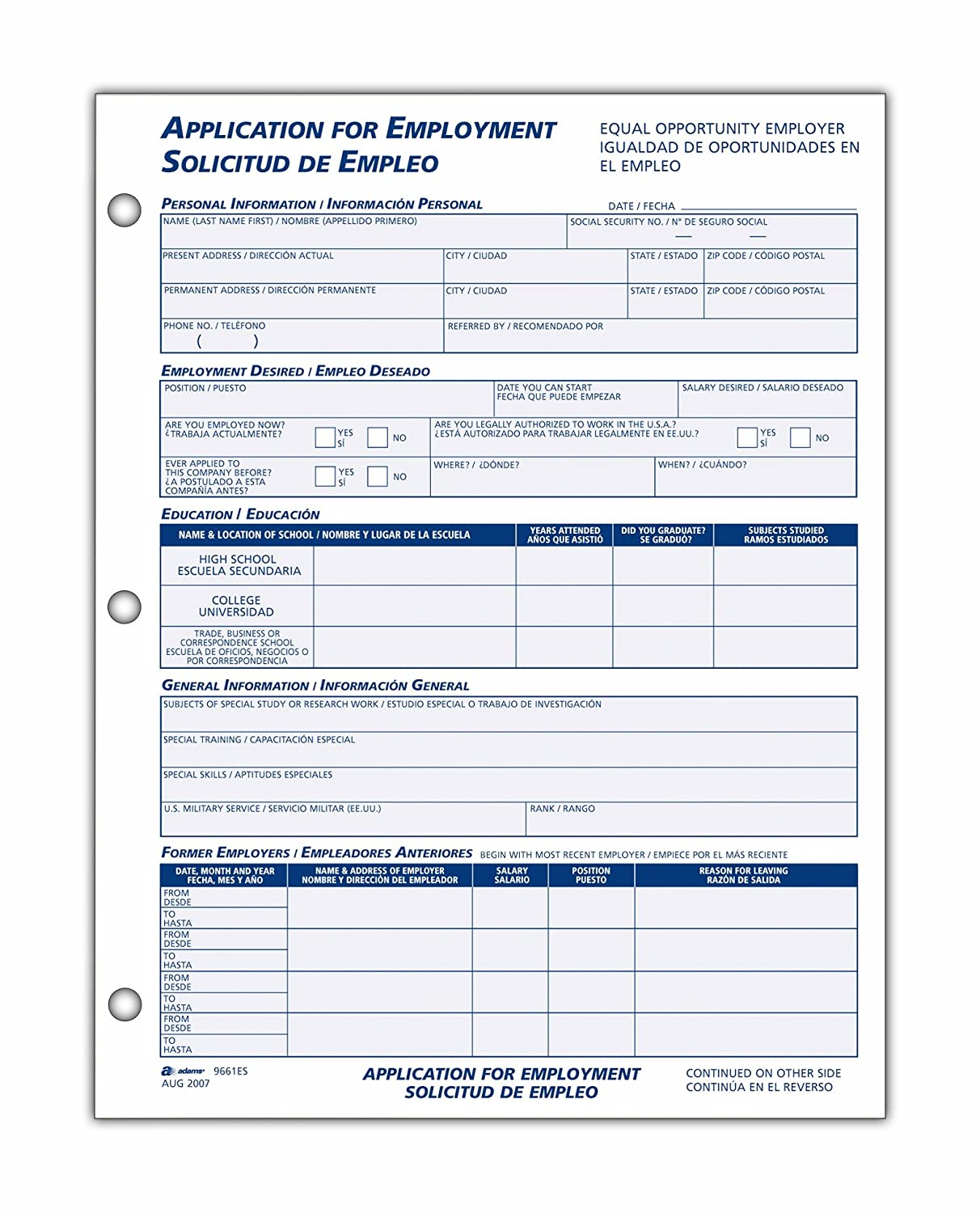 Amazon Adams Bilingual Employee Application 85 x 11 Inches – Application for Employment