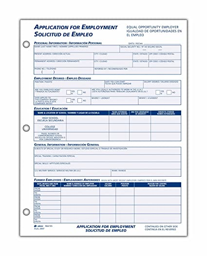 Employee Application | Amazon Com Adams Bilingual Employee Application 8 5 X 11 Inches