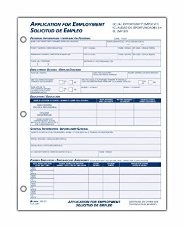 Amazon.Com : Adams Bilingual Employee Application, 8.5 X 11 Inches