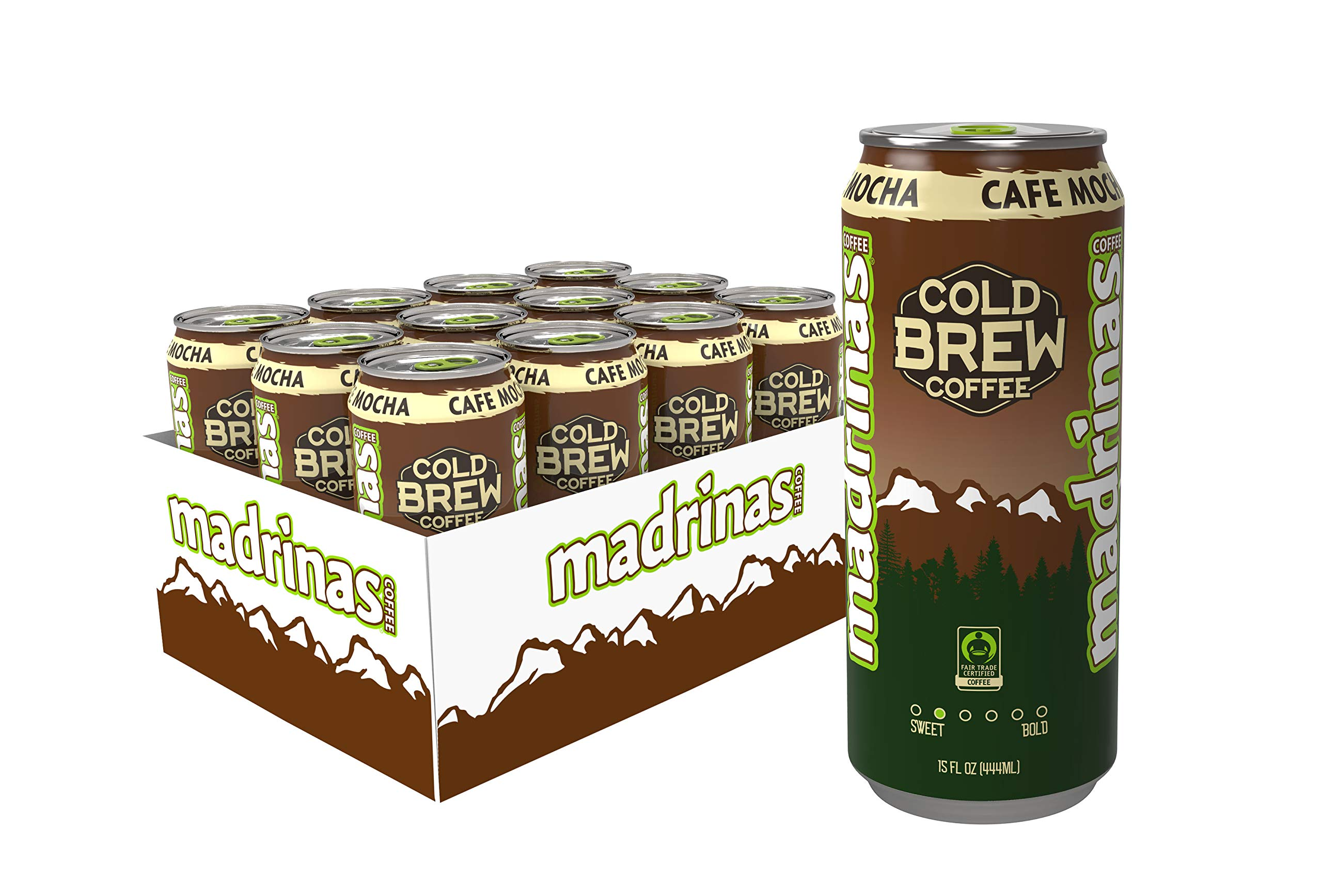 Madrinas Cafe Mocha Fair Trade Cold Brew Coffee, 15 Fl Oz (Pack Of 12) by Madrinas Coffee