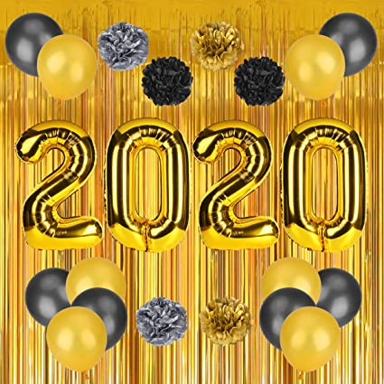 amazon com 2020 new years decorations kit gold white and black balloons sets paper pom poms with gold foil curtain for graduations party supplies new years eve party supplies home decorations 24 pcs black balloons sets paper pom poms