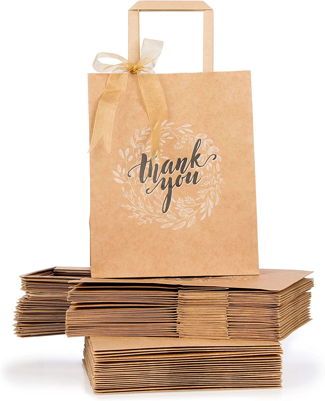 Amazon.com: Agradecimiento Kraft café bolsas de papel con ...