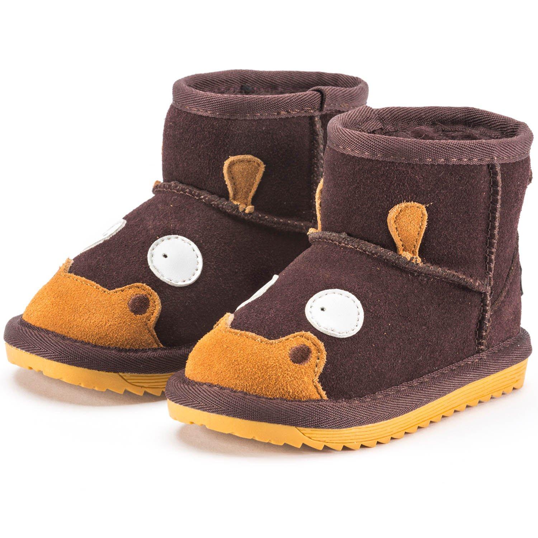 Snugs Boots Bottes pour enfant en peau d'agneau et Wild Chaussures de Bottes pour enfants Garçons et Filles Peau d'agneau en cuir–Marron