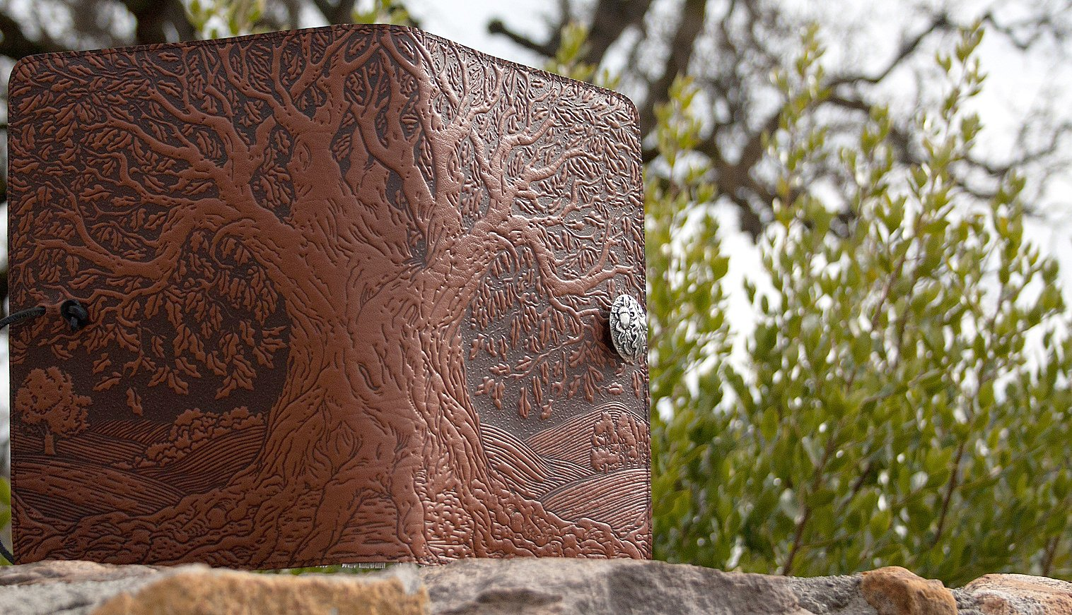 Genuine Leather Refillable Journal Cover with a Hardbound Blank Insert, 6x9 Inches, Tree of Life, Saddle with a Pewter Button, Made in the USA by Oberon Design by Oberon Design (Image #6)